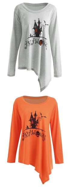 759f140bc17 halloween tops for women Plus Size Happy Halloween Long Asymmetric T-shirt