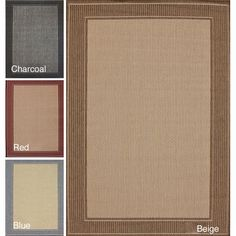 This classic border rug features an understated elegance and is available in beige, blue, red, and charcoal. The perfect accent for any room, this design is machine-loomed using durable synthetic fibers and has a pile height of 0.25 inches.