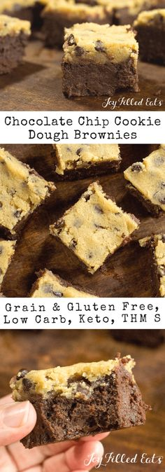Chocolate Chip Cookie Dough Brownies - Low Carb, Grain Gluten Sugar-Free, THM S, Keto - My Chocolate Chip Cookie Dough Brownies have a thick gooey, fudge brownie underneath a layer of raw cookie dough.