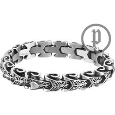 Mens Police Stainless Steel Dragon Bracelet Small 25150PSS/01-S