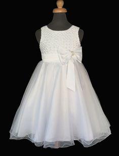 2721fcf638e Παιδικό Φόρεμα σε Λευκό ή σε Ιβουάρ για Παρανυφάκι, Πάρτυ, Βάπτιση