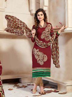 Maroon Chanderi Silk Churidar Suit 63363