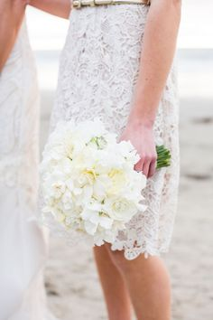 White lace bridesmaid dress + all white bouquet
