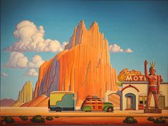 Shiprock by Robert LaDuke Retro Kunst, Retro Art, Vintage Art, Vintage Hippie, Vintage Signs, Landscape Illustration, Illustration Art, Art Nouveau, Southwestern Art