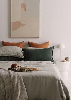 Sage green linen duvet and pillowcases by A&C Homestore Olive Bedroom, Sage Green Bedroom, Green Rooms, Green Bedding, Green Bed Linen, Green Bed Sheets, Sage Green Walls, Room Ideas Bedroom, Diy Bedroom Decor