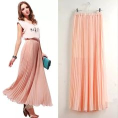 Peach light Maxi skirt Pleaded Free size. Length 80-88 cm. New with tag. Colors available black, light peach and mint Skirts Maxi