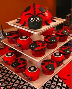 Ladybug cake and cupcakes- Red velvet might be a cute idea for this or a devil's food cake...