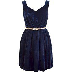 Paisie Velvet Dress, Navy ($37) ❤ liked on Polyvore featuring dresses, vestidos, robes, short dresses, blue, short sleeve dress, navy blue cocktail dress, blue dress, blue skater skirt and navy blue dress