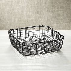 Bendt Iron Square Basket | Crate and Barrel