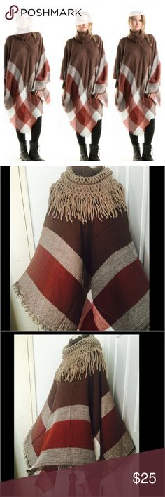 Plaid Oversize Pancho OSFM Just in time for the upcoming season Fashionomics Sweaters Shrugs & Ponchos