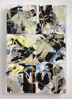 Iridescent Collection, contemporary black, white and gold abstract paintings on birch panel