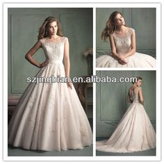 wedding dresses  1.sheer illusion neckline  2.fabric:lace,organza  3.color:all colors  4.embroidery with lace and beaded