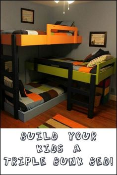 Fit three kids in one room! Build them an awesome triple bunk bed! Is this going to be your next DIY project?