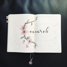 Bullet journal monthly cover page, March cover page, flower drawing, hand lettering. | @heythereseven