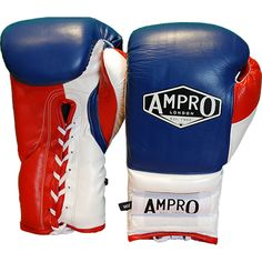 Ampro Mirage V2 Professional Lace Up Sparring Glove - Navy/White/Red. Hand made sparring gloves from the UK's premium glove maker and boxing company. Available in Sizes 10oz - 16oz £120.00