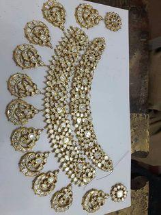 Bridal Jewelry Sets Kundan Uncut Diamond 68 Ideas For 2019 Bridal Jewelry Sets, Wedding Jewelry, Bridal Jewellery, Pakistani Jewelry, India Jewelry, Jewelry Patterns, Jaipur, Enamel, Uncut Diamond