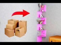 Corner shelves made from cardboard Cardboard Organizer, Cardboard Storage, Cardboard Crafts, Cardboard Playhouse, Diy Para A Casa, Diy Casa, Diy Crafts Hacks, Diy Home Crafts, Diys