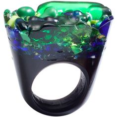 Pasionae Green Murano Glass Ring ($450) ❤ liked on Polyvore featuring jewelry, rings, women, murano glass rings, pasionae, green ring, murano glass jewelry and green jewelry