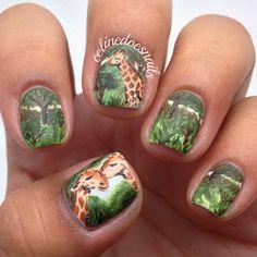 GIRAFFES by celinedoesnails   #nail #nails #nailart