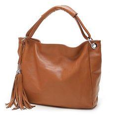 193b24556 40.72 54% de DESCUENTO|Zency 10 colores de moda 100% suave borla de cuero  genuino de las mujeres bolso mujer bolsos de hombro mensajero bolso en  Bolsas de ...