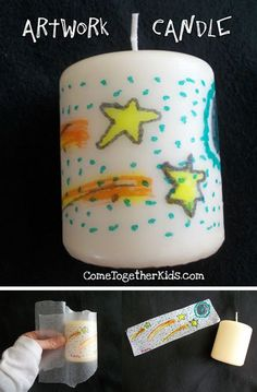 """Using wax paper, white tissue paper, markers, and a hair dryer, help the kids imprint their creative works onto the candle using instructions found on Come Together Kids."""