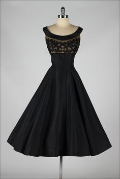 vintage 1950s dress ~ black taffeta  & beaded