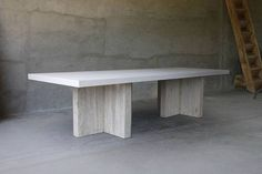 Long Concrete and Reclaimed Elm Dining Table on Double Modern T Shaped Elm Wood Base Available in White, Natural or Charcoal Concrete Tops Also Available As