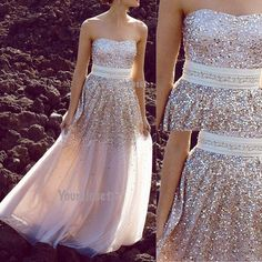 Sweetheart Sequin Strapless Long Prom Dress, Evening Dress, Party Dress from Your Closet