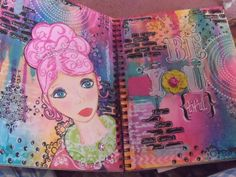 be you, colors,dylusions ink, crafters workshop stencils, ranger/dylusion stencils,faber castell pens
