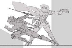 Overwatch Blackwatch Genji vs Blackwatch Mcree
