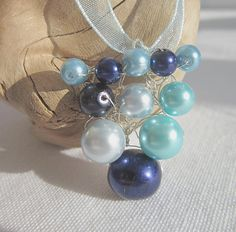 Knitted wire beaded pendant necklace aqua by WisteriaCottageCraft, £7.00
