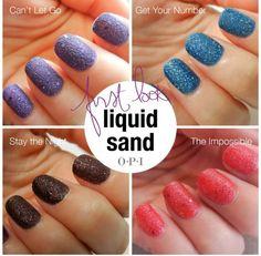 OPI Liquid Sand NailPolish @Jessica Vargas--girl check out the newest nail polish! Lovvvvve it.