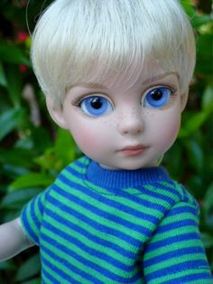 "MIKAEL is a little Swedish lad with blue glass eyes and pale blonde hair. He started out as a 10"" Tonner Patsy doll. He was customized by dds_love4dolls on eBay."