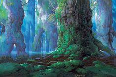 "Background from ""Princess Mononoke"" - The Narrative World of Ghibli Art Director Nizo Yamamoto"