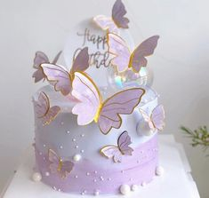 Purple Butterfly Cake, Butterfly Birthday Cakes, Butterfly Cakes, Beautiful Birthday Cakes, Cake With Butterflies, Butterfly Baby, Butterfly Decorations, Pretty Cakes, Cute Cakes