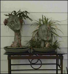 My face planters Face Planters, Cement Planters, Outdoor Planters, Ceramic Planters, Garden Planters, Planting Succulents, Planting Flowers, Art Sculpture, Sculptures