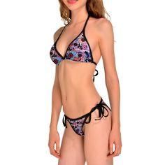 Summer Sexy Colorful Rainbow Skull Printing Digital Printing Bikinis Push Up Bikini Set Sling Decorate Bathing Suit Swimwear