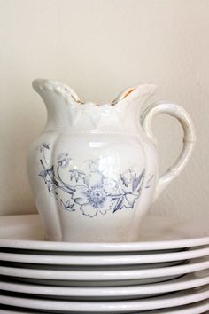 Vintage creamer pitcher with faded blue floral by mysweetsavannah