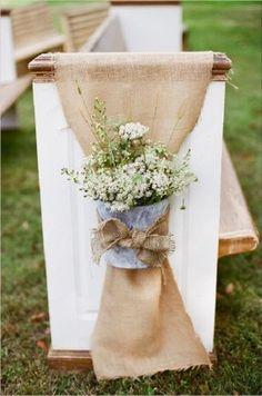 rustic burlap wedding aisle decor