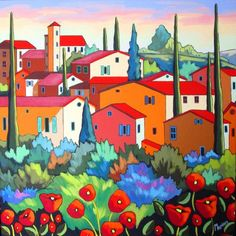 This not an embroidery pattern or kit but a beautiful painting by the same artist that Trish Burr converted a landscape of into the miniature needle painting on this board. Les ocres de Roussillon by Louise Marion - Louise Marion, artiste peintre, paysage urbain, Quebec, couleurs