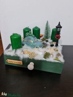 Autós adventi fiókos doboz négy gyertyával (tamasszabina0708) - Meska.hu Advent Candles, Xmas Decorations, Snow Globes, Ornaments, Home Decor, Decoration Home, Room Decor, Christmas Decorations, Home Interior Design