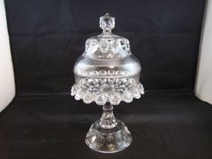 "EAPG ""Torpedo"" aka ""Fisheye"" ""Pygmy"" pattern 17, SMALL clear Jelly or Jam Covered Compote made by Thompson Glass circa 1889. Approx. 4 1/8"" D x 8.5""H (5 1/8""H without lid) 11/25/2014"