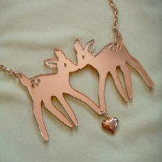 Gold Acrylic FAWNS Necklace by imyourpresent on Etsy, $12.00