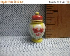 SALE Lovely Miniature VASE flowered Jar Canister - French Feve Feves Porcelain Figurines Doll House Charm Miniatures Figures B2 by ValueARTifacts on Etsy