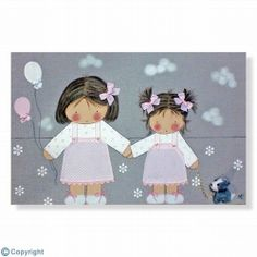 Cuadro infantil personalizado: Dos hermanitas (ref. 12079-01) Cowboy Baby, Camo Baby, Baby Applique, Cute Sewing Projects, Child Smile, Kool Kids, Patch Aplique, Cross Stitch Baby, Patch Quilt