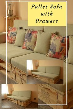 Pallet Sofa with Drawers - This Sofa Made from 100% #Pallets Wood.