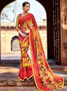 Red Georgette Casual Wear Saree 92481
