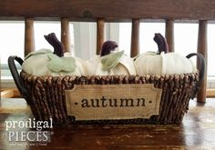 Handmade Basket of Autumn Pumpkins by Larissa of Prodigal Pieces | Available at prodigalpieces.com