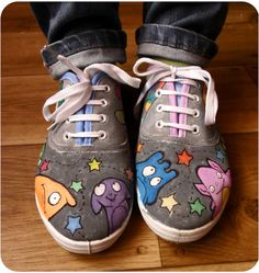 Personalized handpainted shoes Cute Aliens shoes by MadCandies