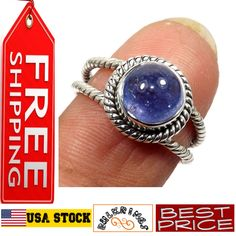 Natural Blue Tanzanite Round Gemstone 925 Sterling Silver Ring Weight 3 g Ring Size:8 Relatively a new, but an incredibly beautiful stone in the world of stones and gems, Tanzanite has no illustrious an ancient history as the other stones have, but it is still an extremely demanded and popular precious stone due to Silver Rings With Stones, Sterling Silver Rings, Ancient History, Popular, Gemstones, Crystals, Natural, Blue, Beautiful